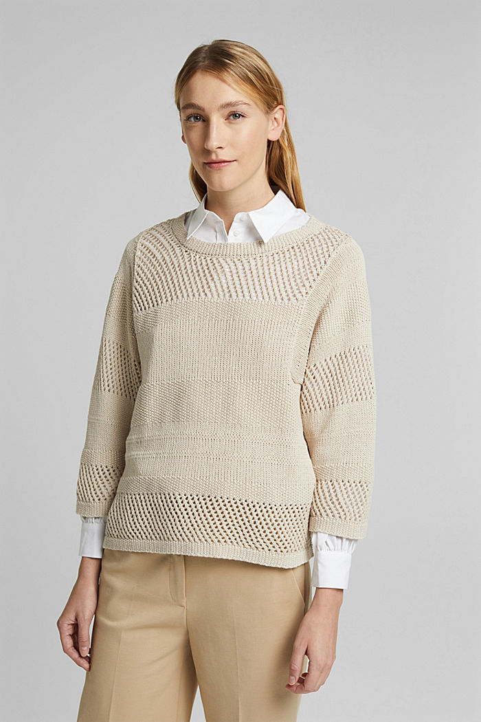 Met linnen: boxy trui met opengewerkt breisel, SAND, detail image number 0