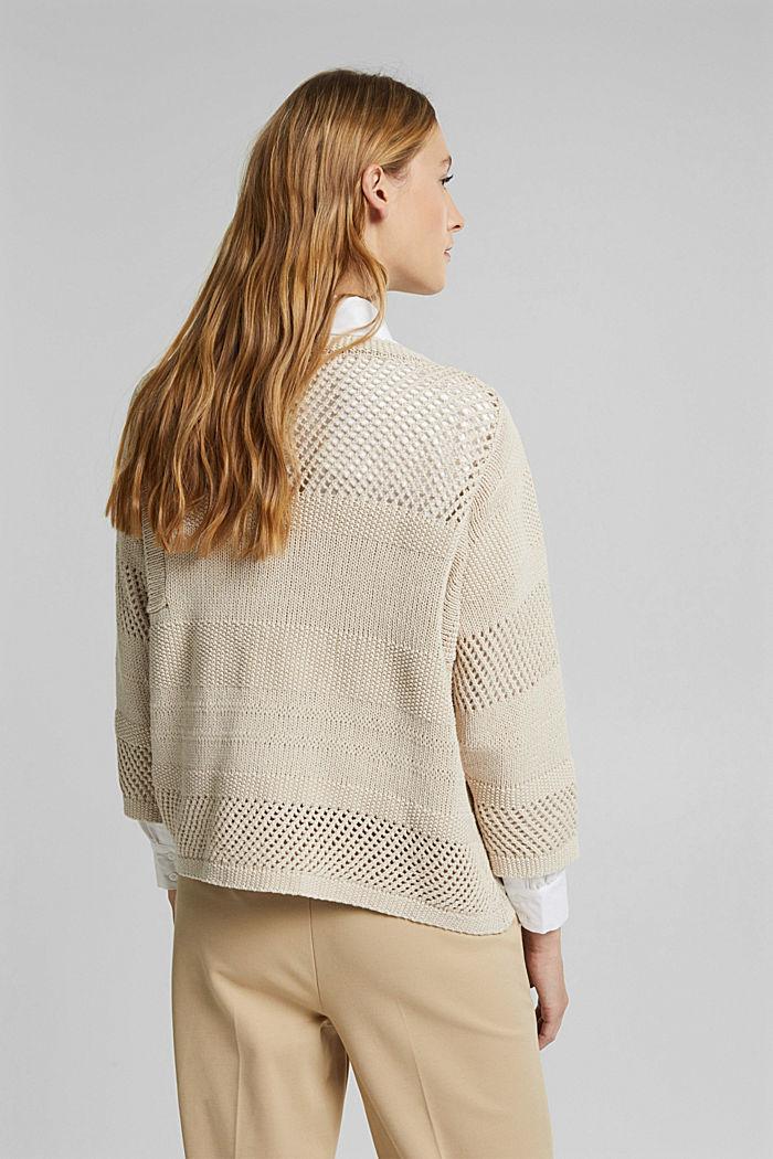Met linnen: boxy trui met opengewerkt breisel, SAND, detail image number 3