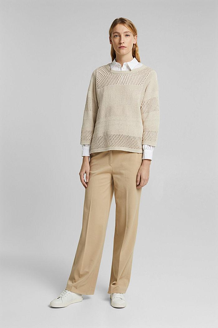 Linen blend: boxy openwork jumper, SAND, detail image number 1