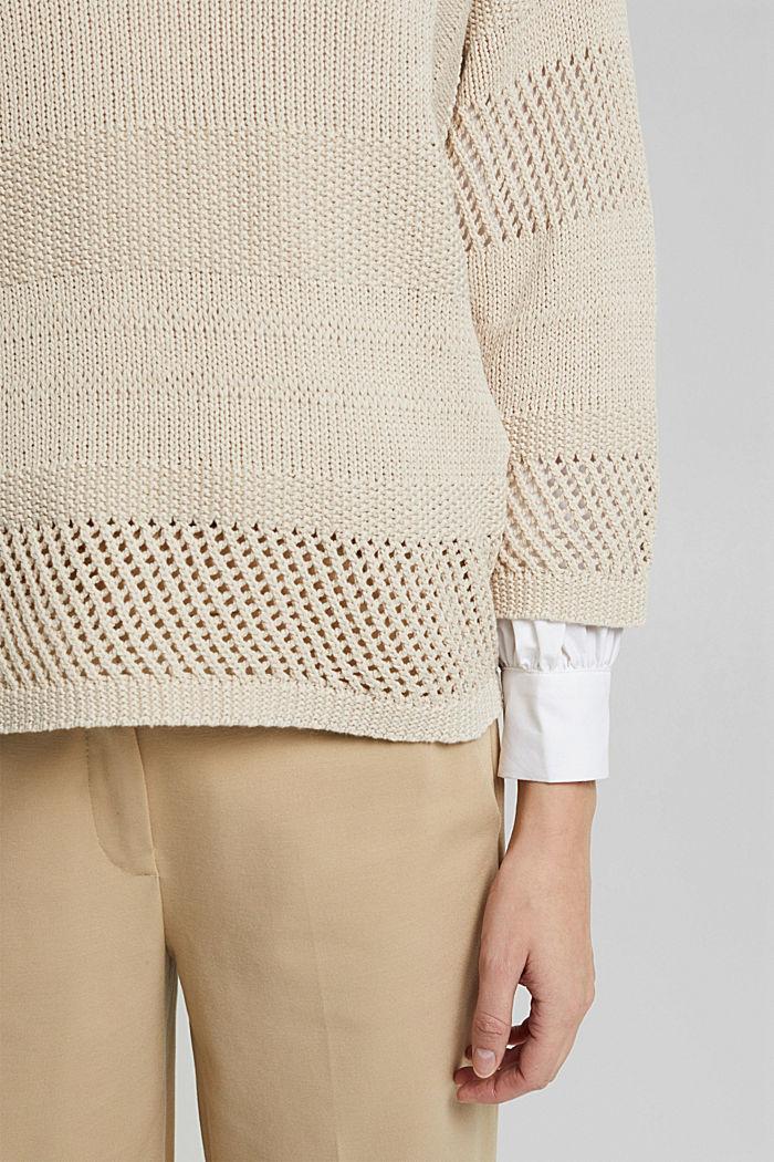 Met linnen: boxy trui met opengewerkt breisel, SAND, detail image number 2