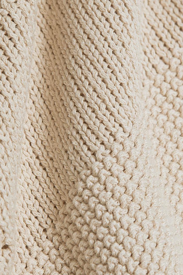 Linen blend: boxy openwork jumper, SAND, detail image number 4