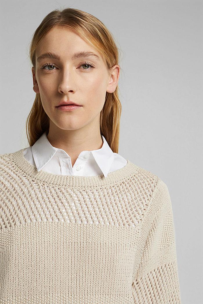 Linen blend: boxy openwork jumper, SAND, detail image number 5