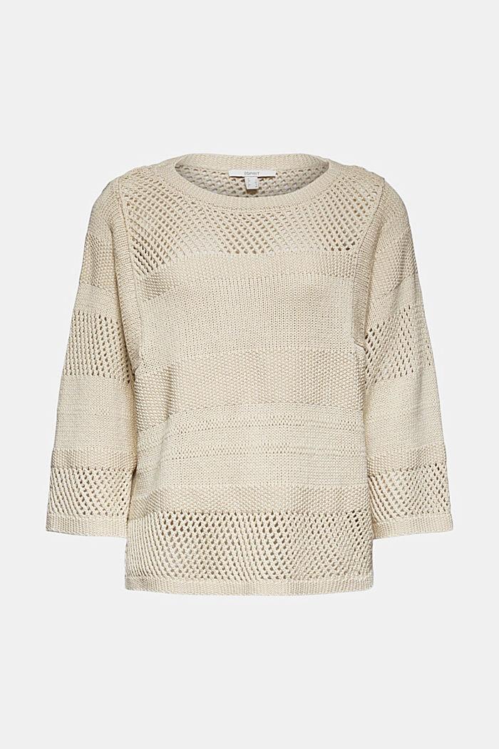 Linen blend: boxy openwork jumper, SAND, detail image number 6