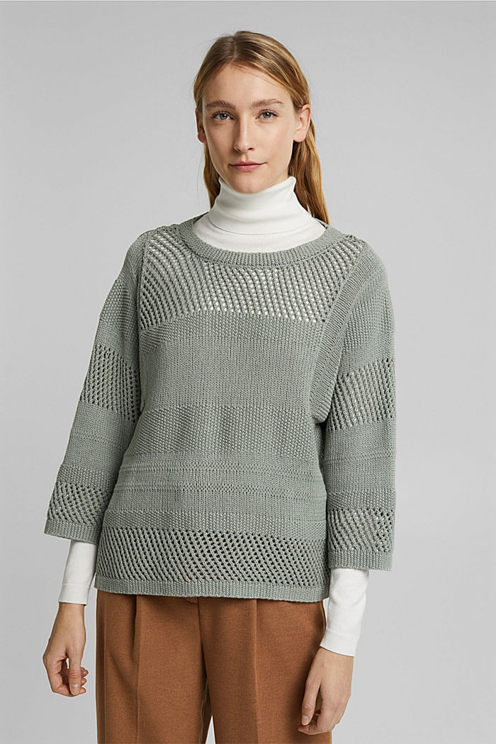 Linen blend: boxy openwork jumper, DUSTY GREEN, detail image number 0