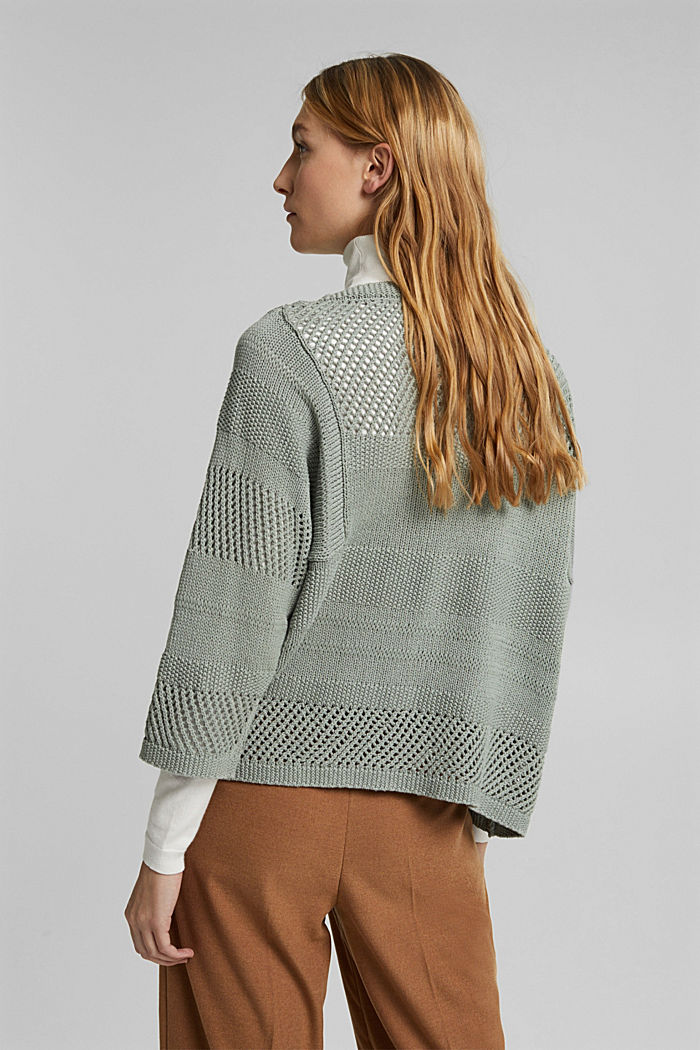 Linen blend: boxy openwork jumper, DUSTY GREEN, detail image number 3