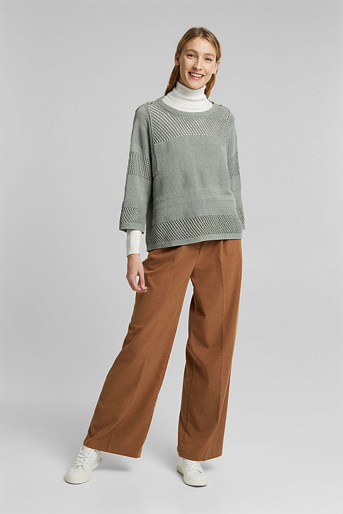 Linen blend: boxy openwork jumper, DUSTY GREEN, detail image number 5