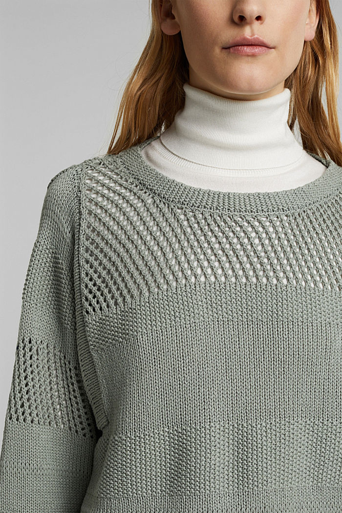 Linen blend: boxy openwork jumper, DUSTY GREEN, detail image number 2