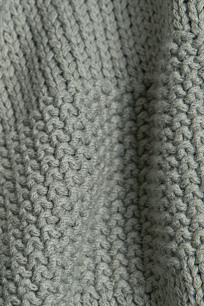Linen blend: boxy openwork jumper, DUSTY GREEN, detail image number 4