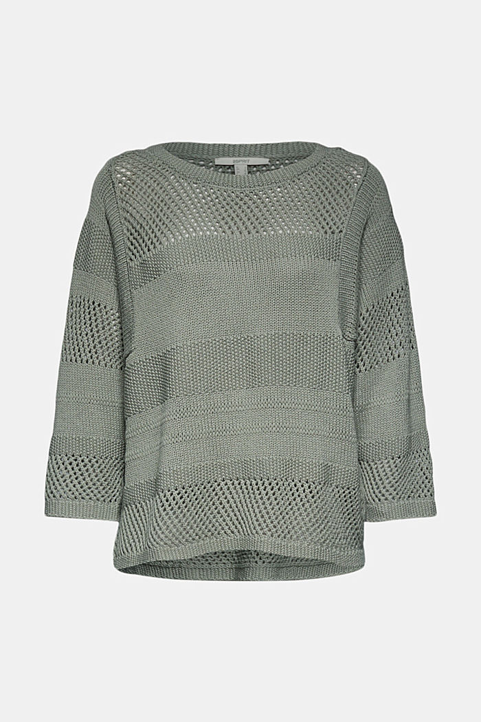 Linen blend: boxy openwork jumper, DUSTY GREEN, detail image number 6