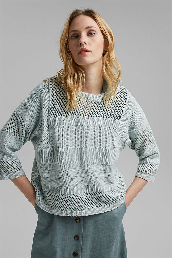 Linen blend: boxy openwork jumper, LIGHT TURQUOISE, detail image number 0