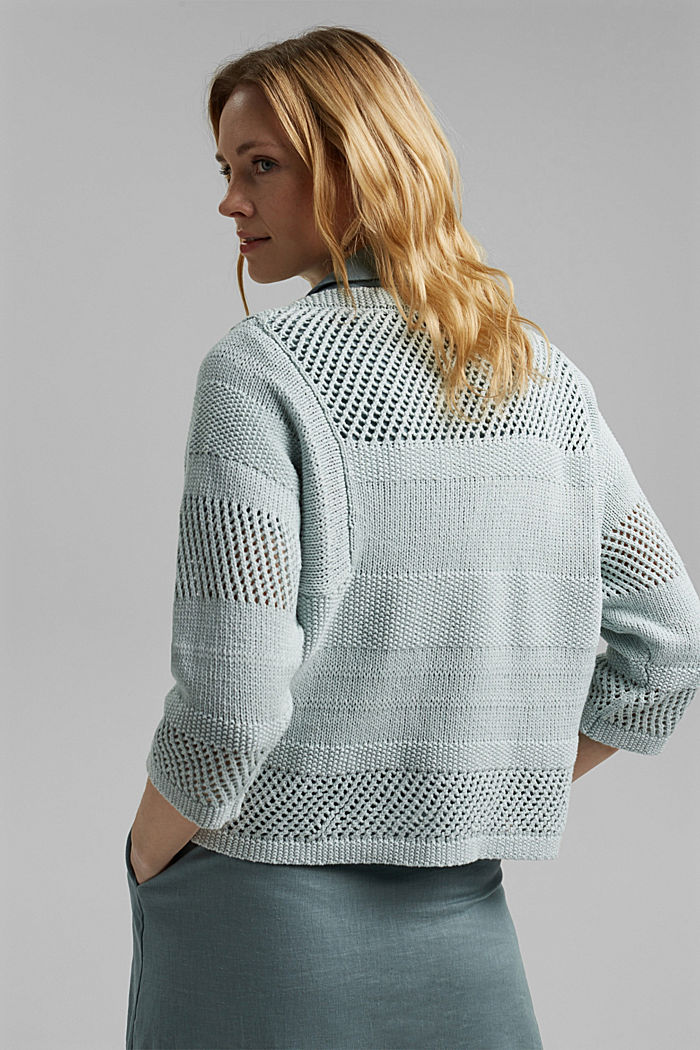 Linen blend: boxy openwork jumper, LIGHT TURQUOISE, detail image number 3