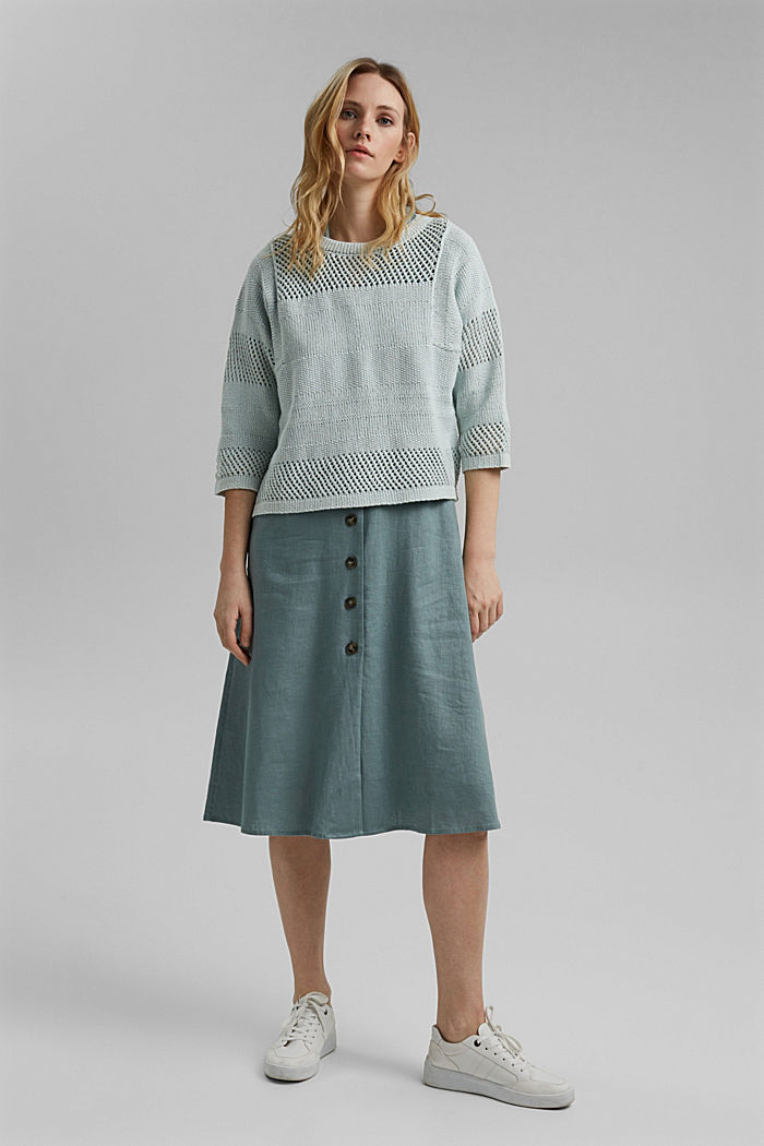 Linen blend: boxy openwork jumper, LIGHT TURQUOISE, detail image number 1