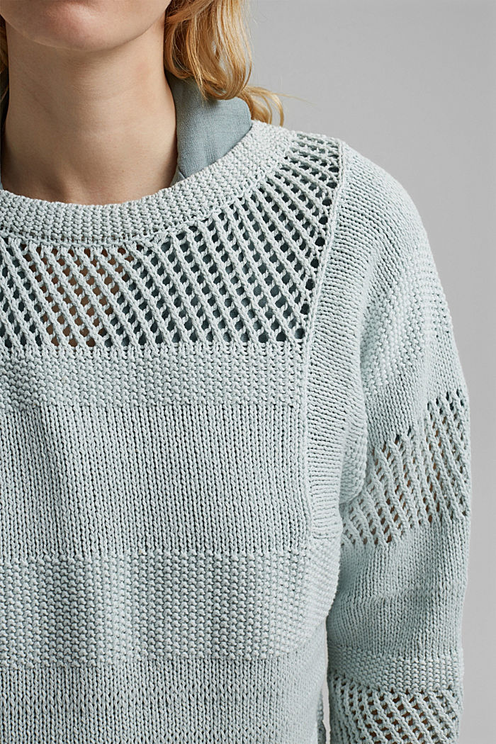 Linen blend: boxy openwork jumper, LIGHT TURQUOISE, detail image number 2
