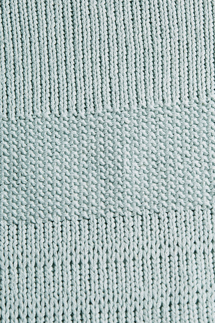 Linen blend: boxy openwork jumper, LIGHT TURQUOISE, detail image number 4