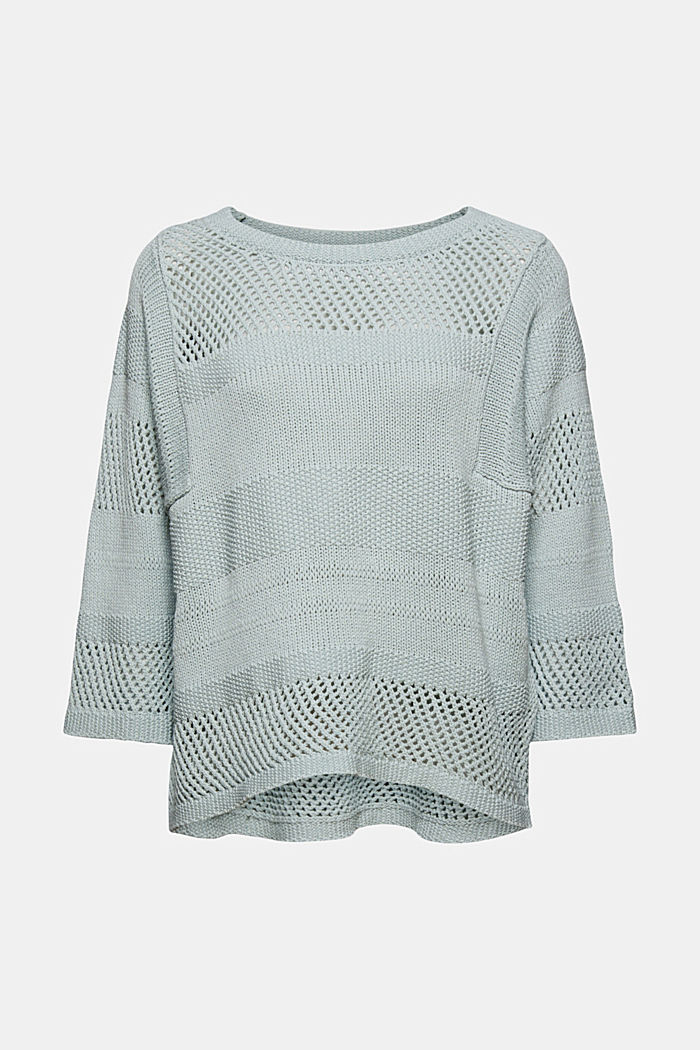 Linen blend: boxy openwork jumper, LIGHT TURQUOISE, detail image number 5