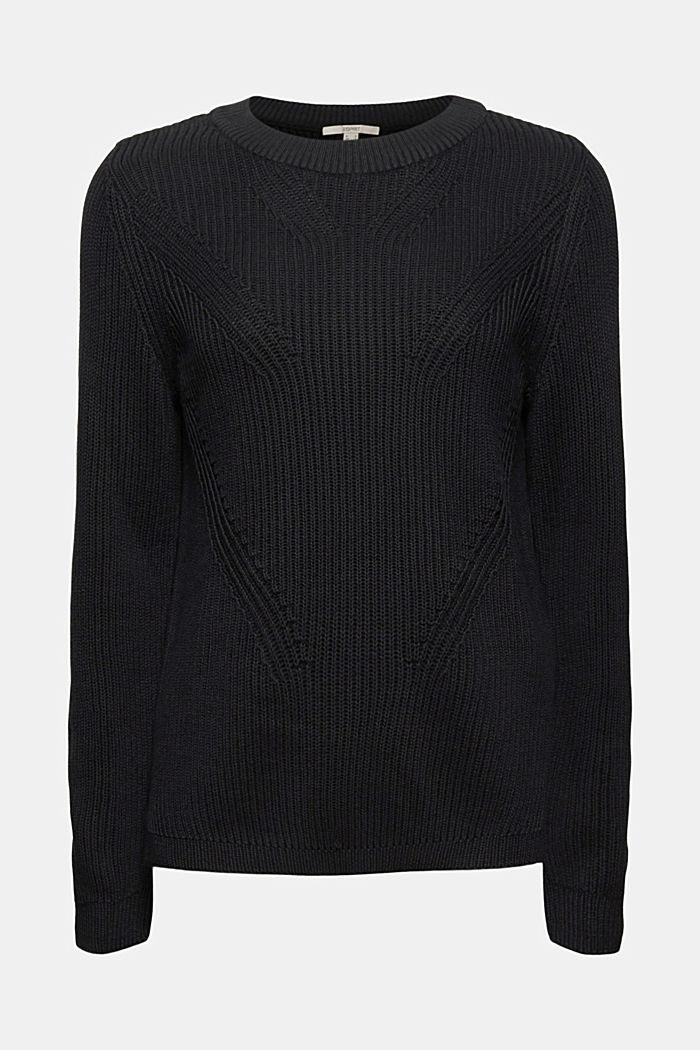 Pullover mit Struktur, 100% Bio-Baumwolle, BLACK, detail image number 6