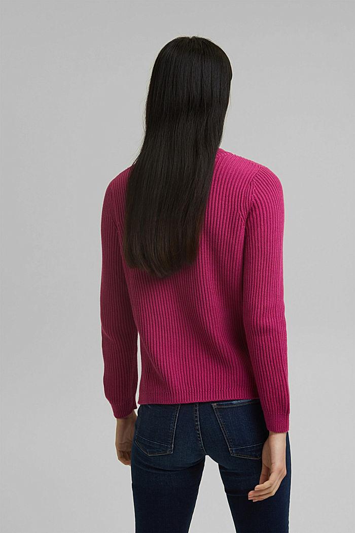 Textured jumper, 100% organic cotton, DARK PINK, detail image number 3