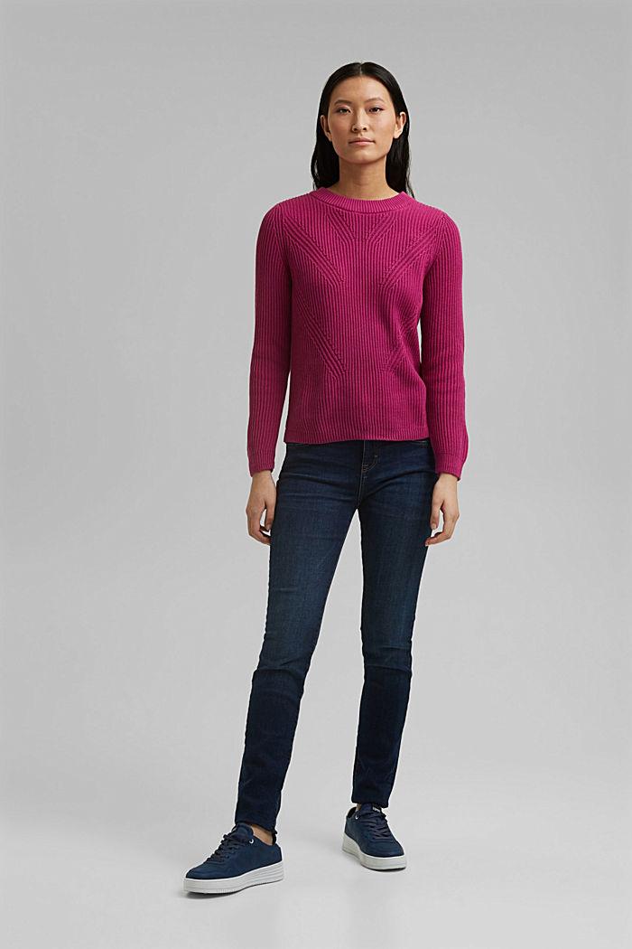 Textured jumper, 100% organic cotton, DARK PINK, detail image number 1