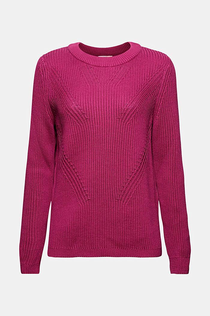 Textured jumper, 100% organic cotton, DARK PINK, detail image number 6