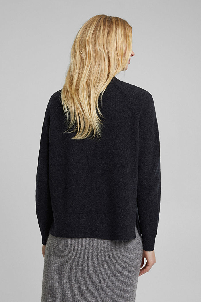 Mit Wolle: Pullover mit Organic Cotton, ANTHRACITE, detail image number 3