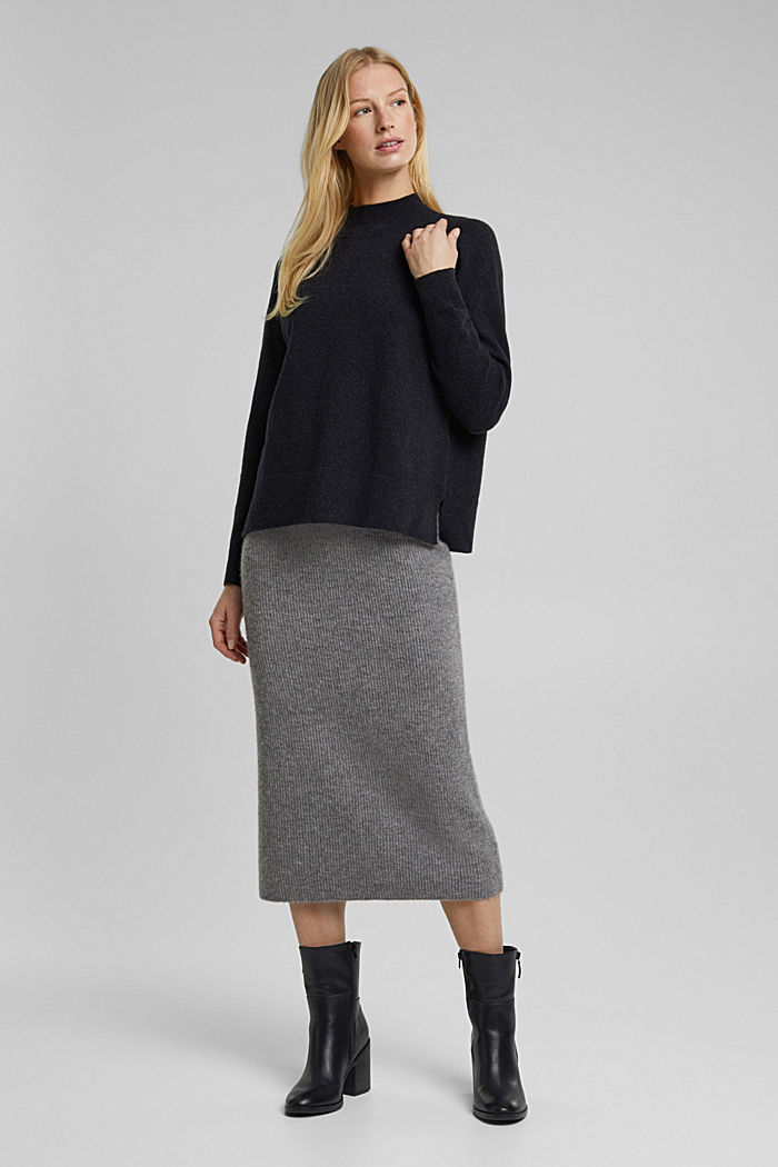 Mit Wolle: Pullover mit Organic Cotton, ANTHRACITE, detail image number 6
