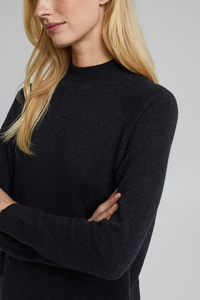Mit Wolle: Pullover mit Organic Cotton, ANTHRACITE, detail image number 2