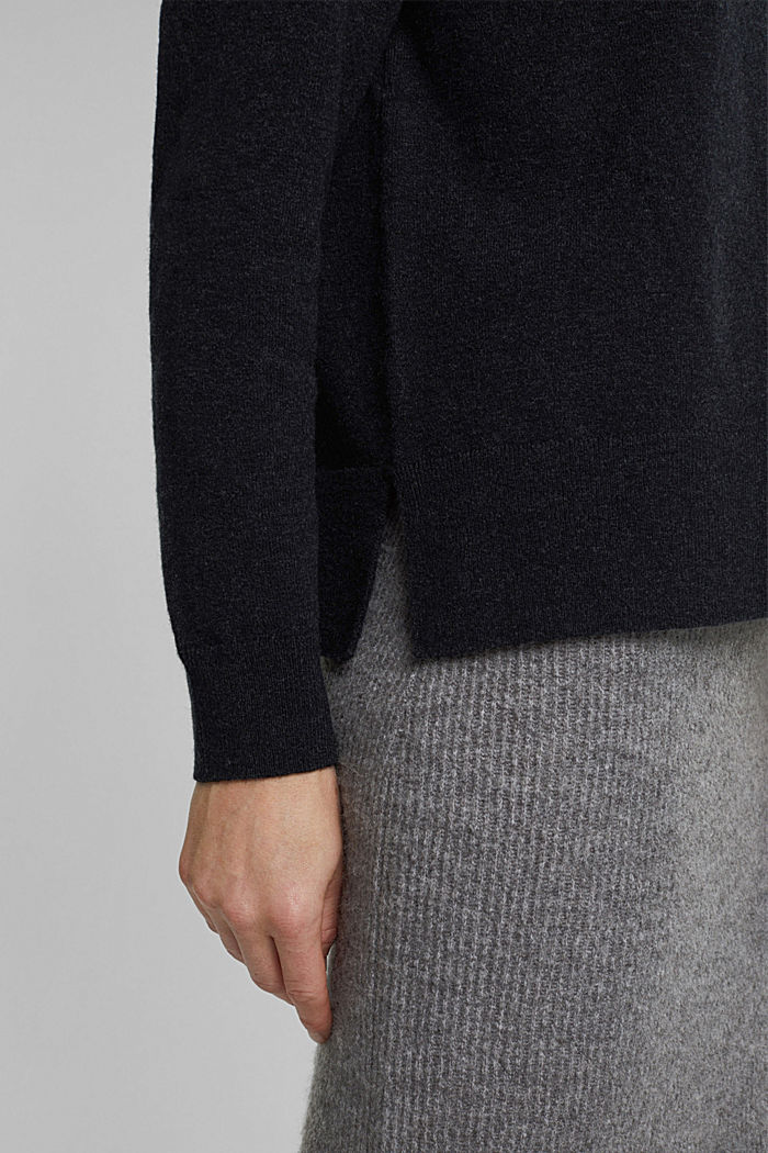 Mit Wolle: Pullover mit Organic Cotton, ANTHRACITE, detail image number 5