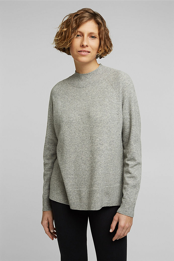 Jumper with wool and organic cotton, MEDIUM GREY, detail image number 0