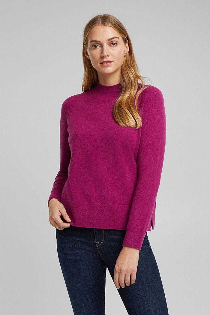 Mit Wolle: Pullover mit Organic Cotton, DARK PINK, detail image number 0