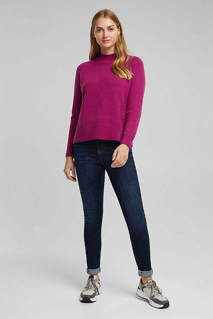 Mit Wolle: Pullover mit Organic Cotton, DARK PINK, detail image number 1