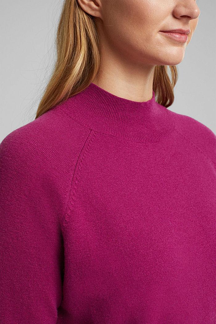 Mit Wolle: Pullover mit Organic Cotton, DARK PINK, detail image number 2