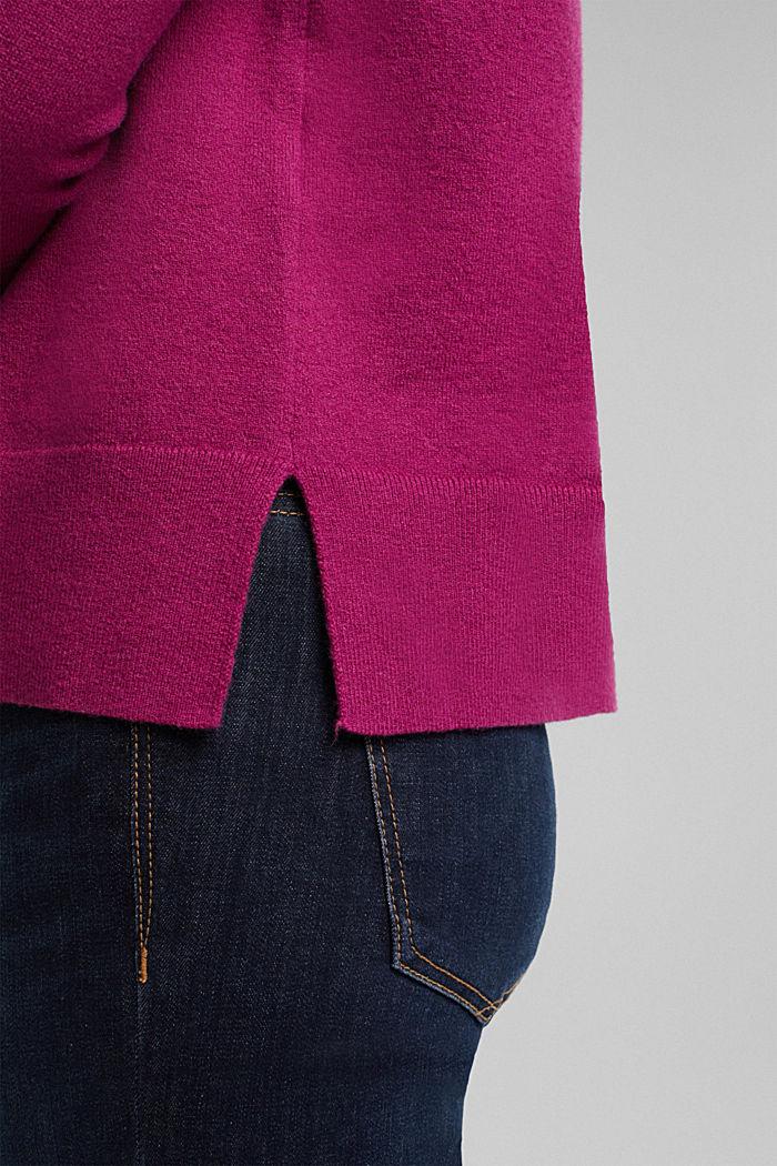 Mit Wolle: Pullover mit Organic Cotton, DARK PINK, detail image number 5