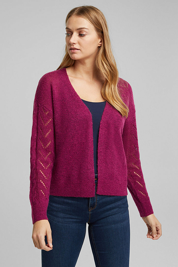 With wool and alpaca: openwork cardigan