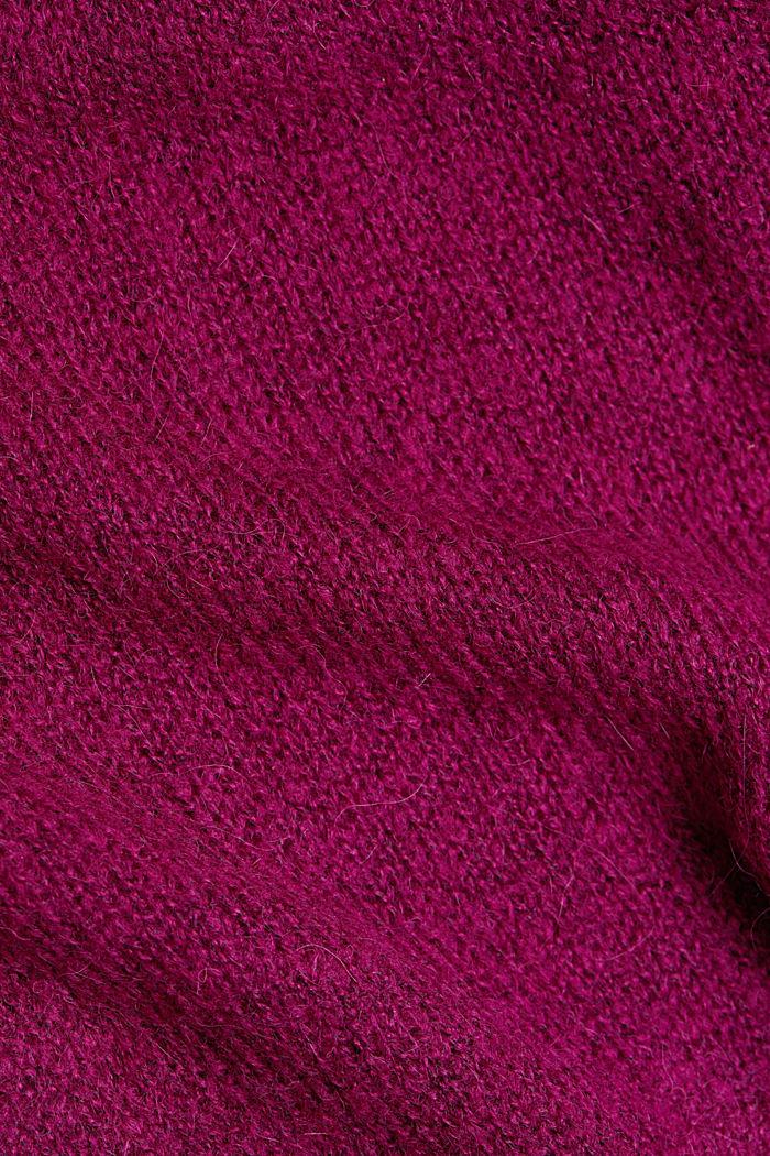 Con lana y alpaca: cárdigan de punto calado, DARK PINK, detail image number 4