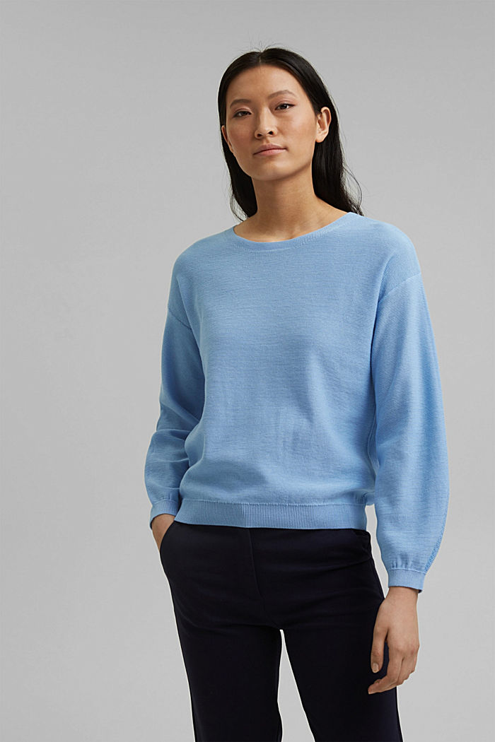 Crewneck jumper made of 100% cotton, PASTEL BLUE, detail image number 0