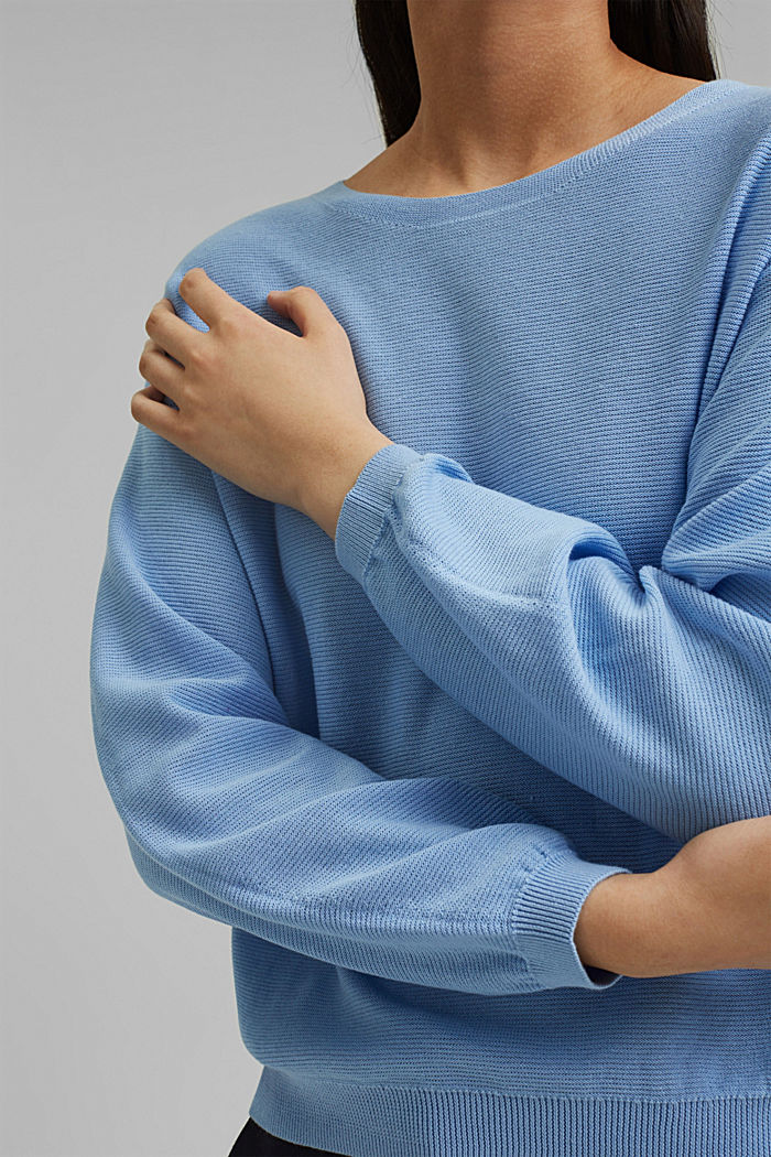 Crewneck jumper made of 100% cotton, PASTEL BLUE, detail image number 2
