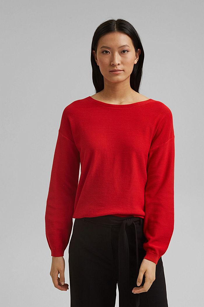Crewneck jumper made of 100% cotton, RED, detail image number 0