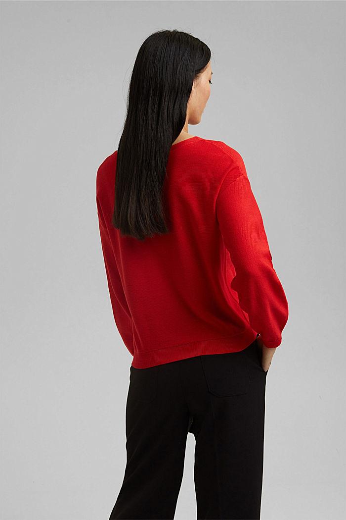 Crewneck jumper made of 100% cotton, RED, detail image number 3