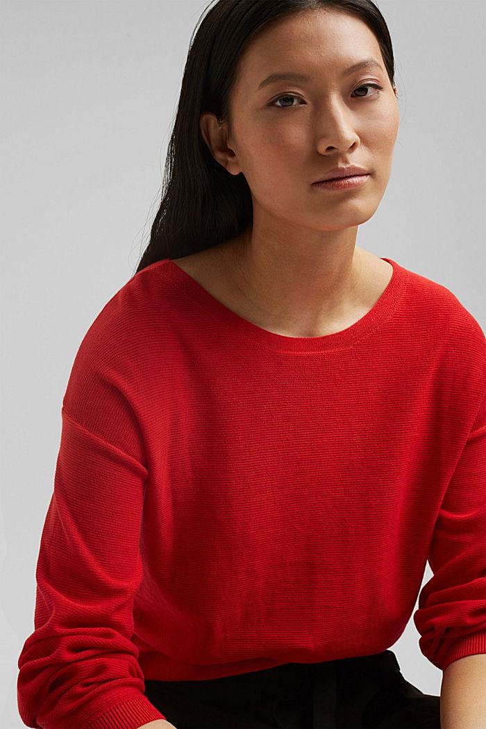 Crewneck jumper made of 100% cotton, RED, detail image number 5