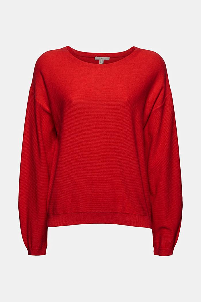 Crewneck jumper made of 100% cotton, RED, detail image number 6