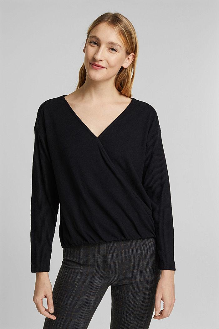 Sweatshirt met wikkeldetail, BLACK, detail image number 0
