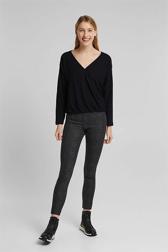 Sweatshirt met wikkeldetail, BLACK, detail image number 1
