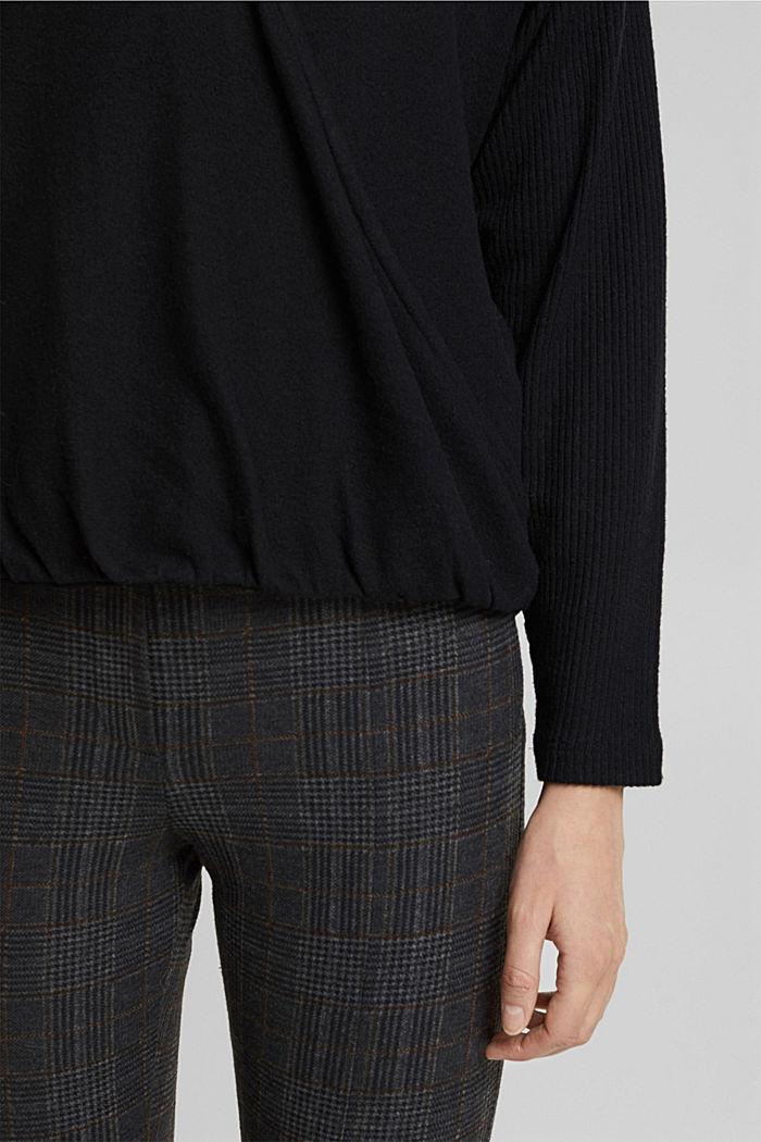 Sweatshirt met wikkeldetail, BLACK, detail image number 2