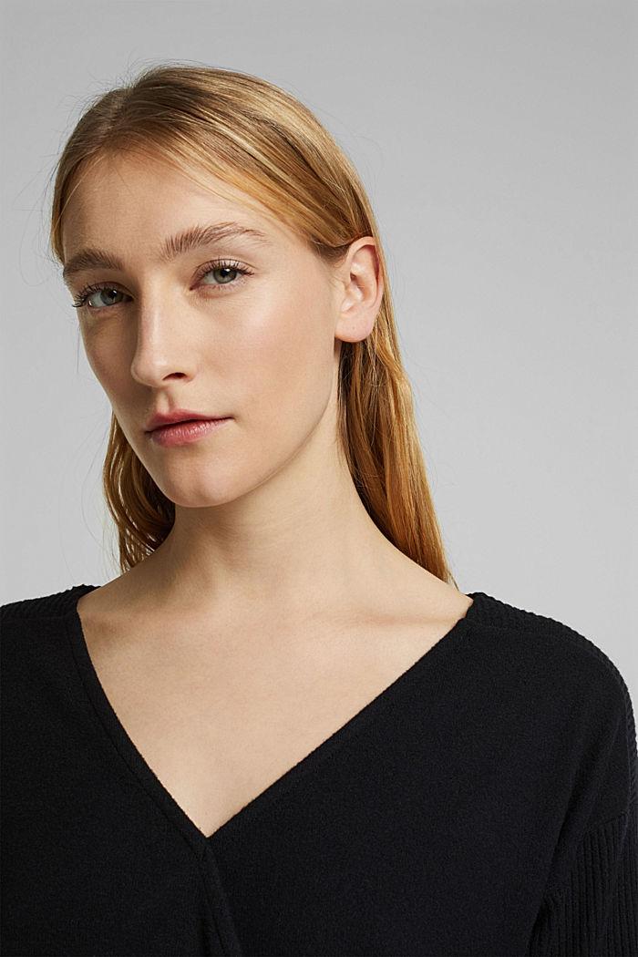 Sweatshirt met wikkeldetail, BLACK, detail image number 5