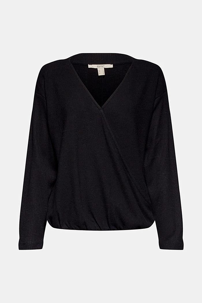 Sweatshirt met wikkeldetail, BLACK, detail image number 6