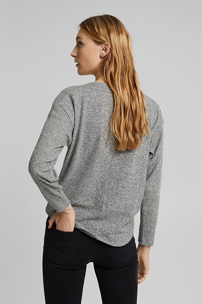 Sweatshirt with wrap detail, GUNMETAL, detail image number 3