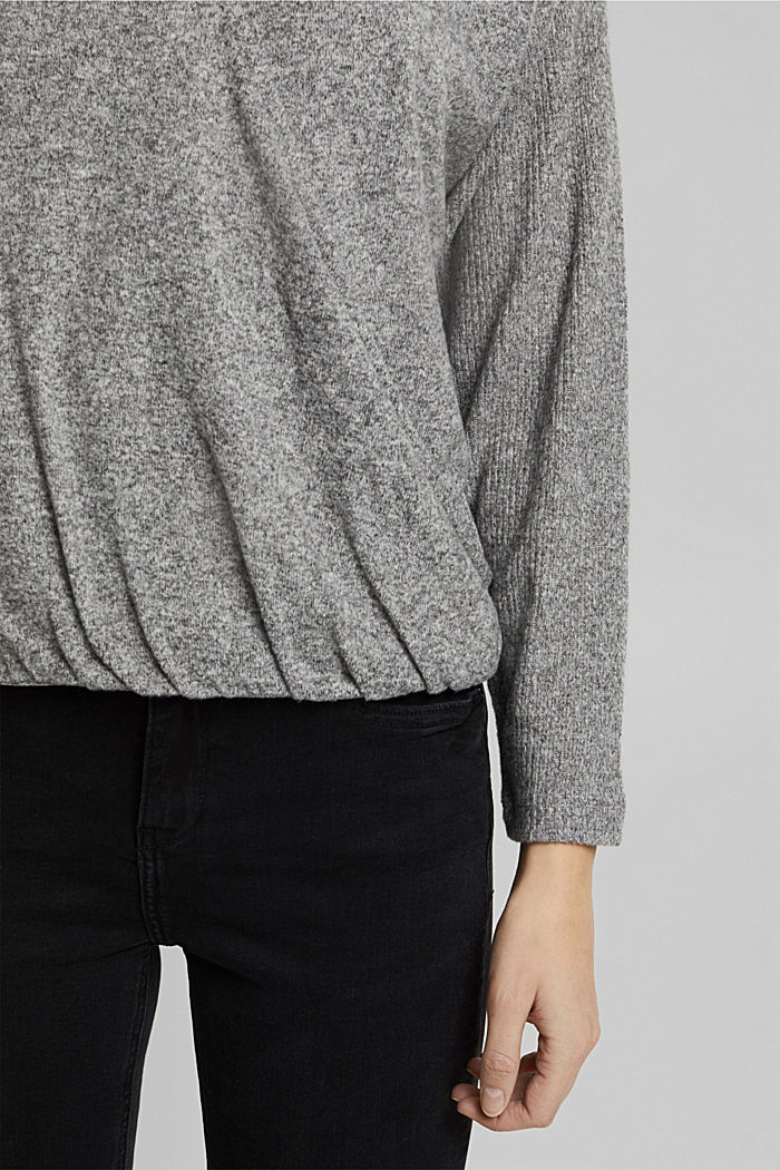 Sweatshirt with wrap detail, GUNMETAL, detail image number 2