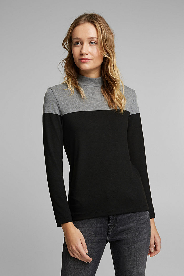 Recycled: Colour block long sleeve top with a stand-up collar, BLACK, detail image number 0