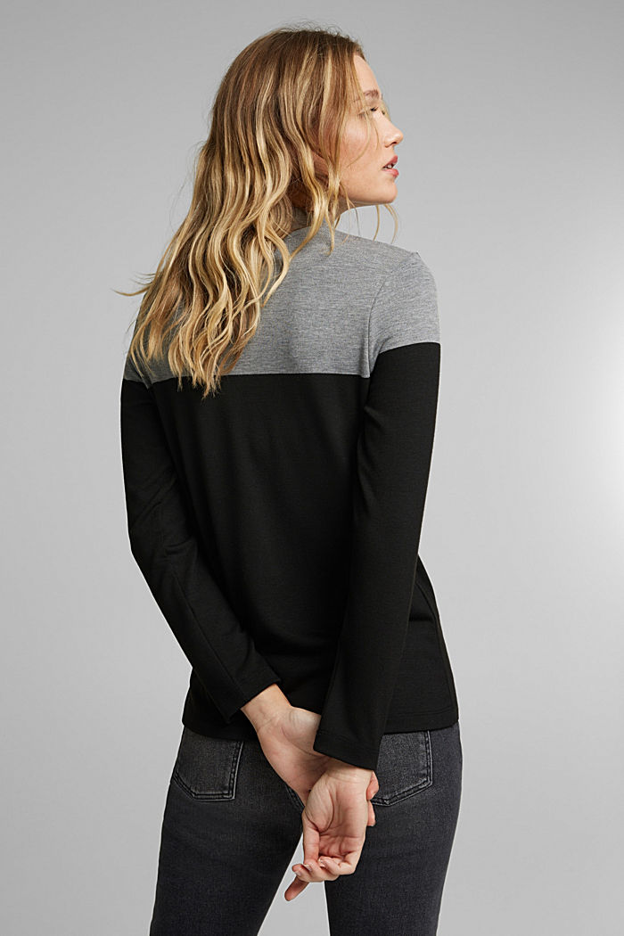 Recycled: Colour block long sleeve top with a stand-up collar, BLACK, detail image number 3