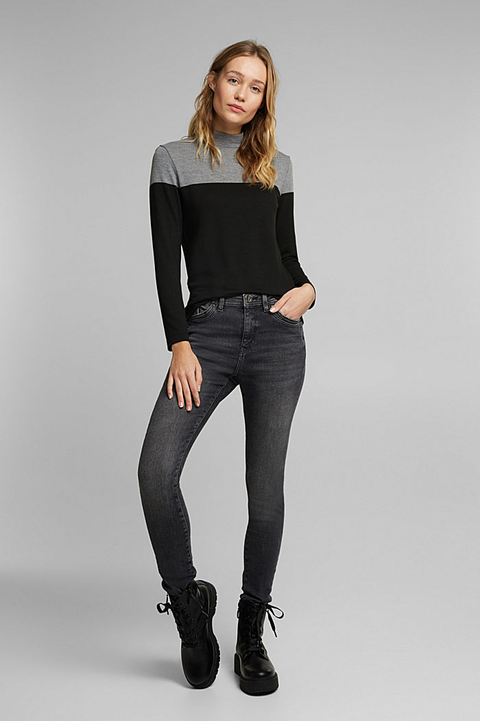 Recycled: Colour block long sleeve top with a stand-up collar, BLACK, detail image number 1